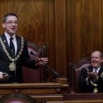 Lord Mayor of Belfast Cllr Niall  Donnghaile and Lord Mayor of Cork, Councillor Terry Shannon