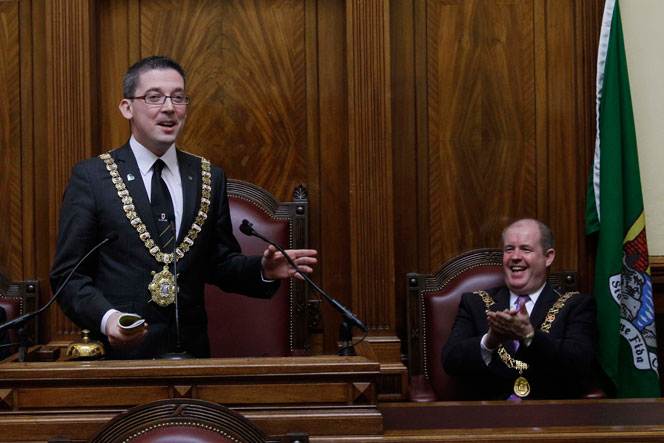 Lord Mayor of Belfast Cllr Niall Ó Donnghaile and Lord Mayor of Cork, Councillor Terry Shannon