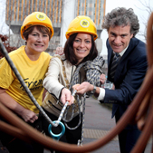 The Lord Mayor of Belfast joins Colleen Shaw, chief executive of Friends of the Cancer Centre and Professor Joe O'Sullivan, clinical director of the Cancer Centre, as they get set for Friends of the Cancer Centre's Take on the Tower Abseil at Belfast City Hospital.