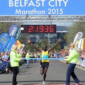 Kenyan Joel Kipsang Kositany pictured crossing the finish line in two hours, 19 minutes and 36 seconds.