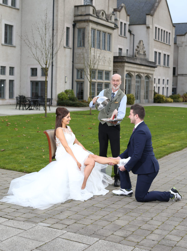 Lough Erne Resort Concierge Gordon Elder is on hand as Jessica Turley swaps her running shoes for designer heels with her very own price charming Paudy Lunny at the five star venue, as new trends show couples from across Northern Ireland are racing up the aisle rather than settling for a long engagement.