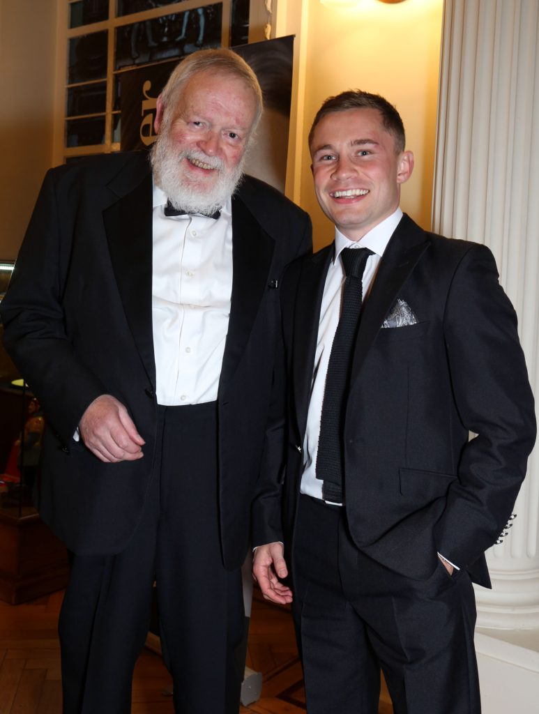 PACEMAKER, BELFAST, 17/9/2015: Poet Michael Longley and world champion boxer Carl Frampton pictured at last night's glittering Ulster Tatler Awards at Belfast City Hall. Longley received the Lifetime Achievement Award and Frampton was awarded with Sportsperson of the Year at the gala event. This was the eighth year for the awards that were created by Northern IrelandÕs longest-running glossy magazine, Ulster Tatler, to recognise and celebrate the people and businesses of Northern Ireland that have lit up its pages since 1966. PICTURE BY STEPHEN DAVISON