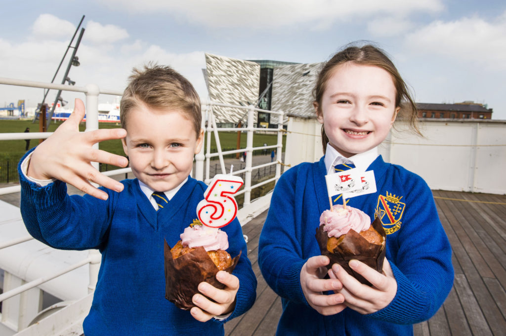 Alfie Corr and Amelia Stuart, P1 from The Armstrong Primary School, Armagh celebrating Titanic Belfast's 5th Birthday. Picture: Elaine Hill