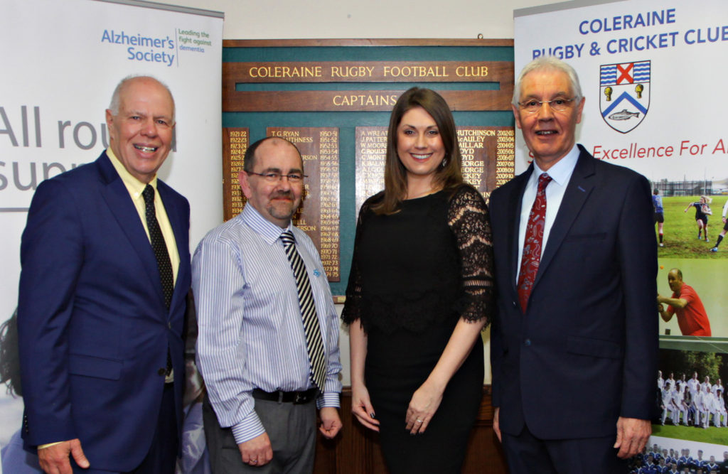 At the President's Dinner held  in association with nominated charity the Alzheimer's Society at Coleraine Rugby and Cricket Club are Club Chairman Nigel Handforth, Adrian Friel Alzheimer's Services Manager, Sarah Travers Alzheimer's Ambassador with President Gavin Craig.