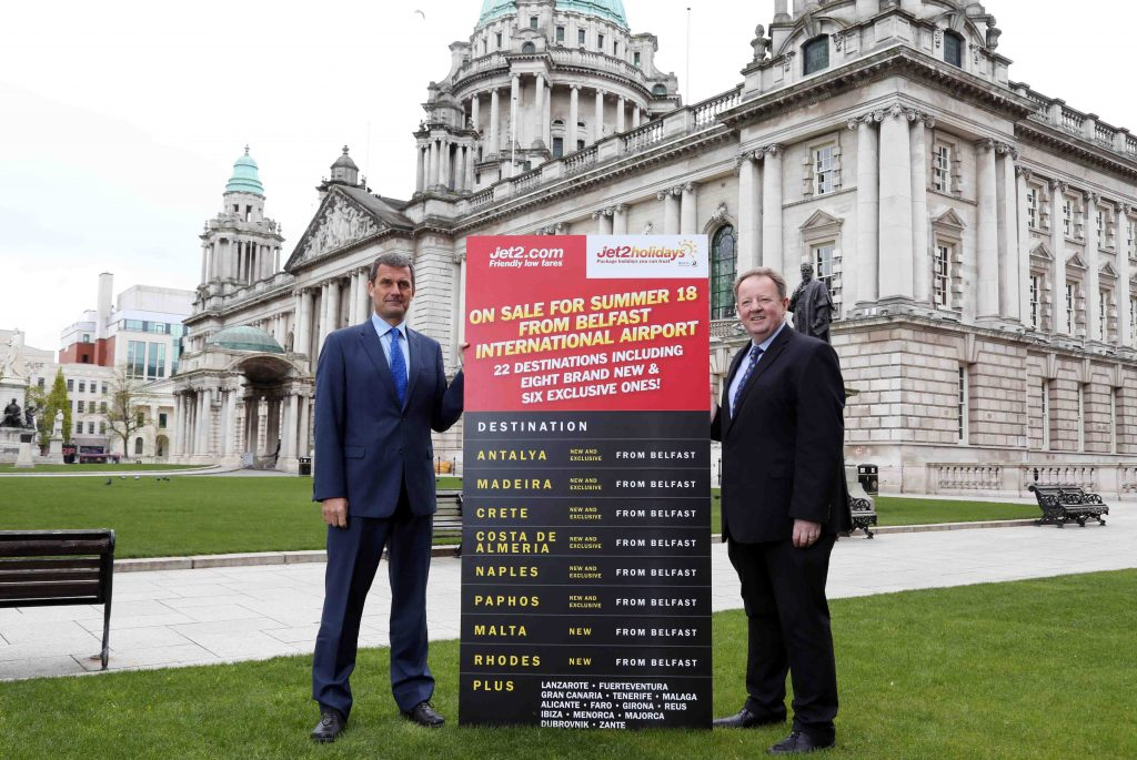 Steve Heapy, CEO of Jet2.com and Jet2holidays and Graham Keddie, managing director of Belfast International Airport celebrate the launch of Jet2.com and Jet2holidays' biggest ever summer programme from Belfast International Airport.