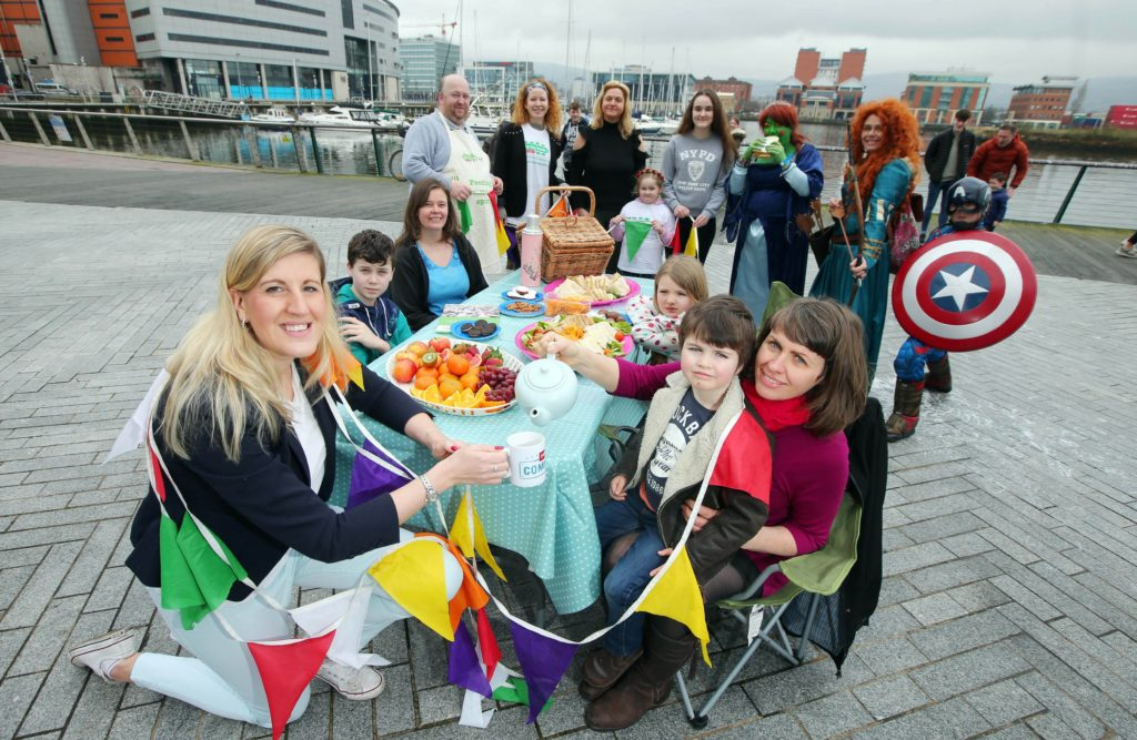 From L-R Jenni Barkley, Belfast Harbour, Dearbhla Reynolds, Holywood, Holly Reynolds and Jude Reynolds pictured with Eden Project Communities volunteers at the launch of The Big Lunch 2017's exciting competition giving young people the chance to win up to £3000 worth of prizes for their neighbourhoods.