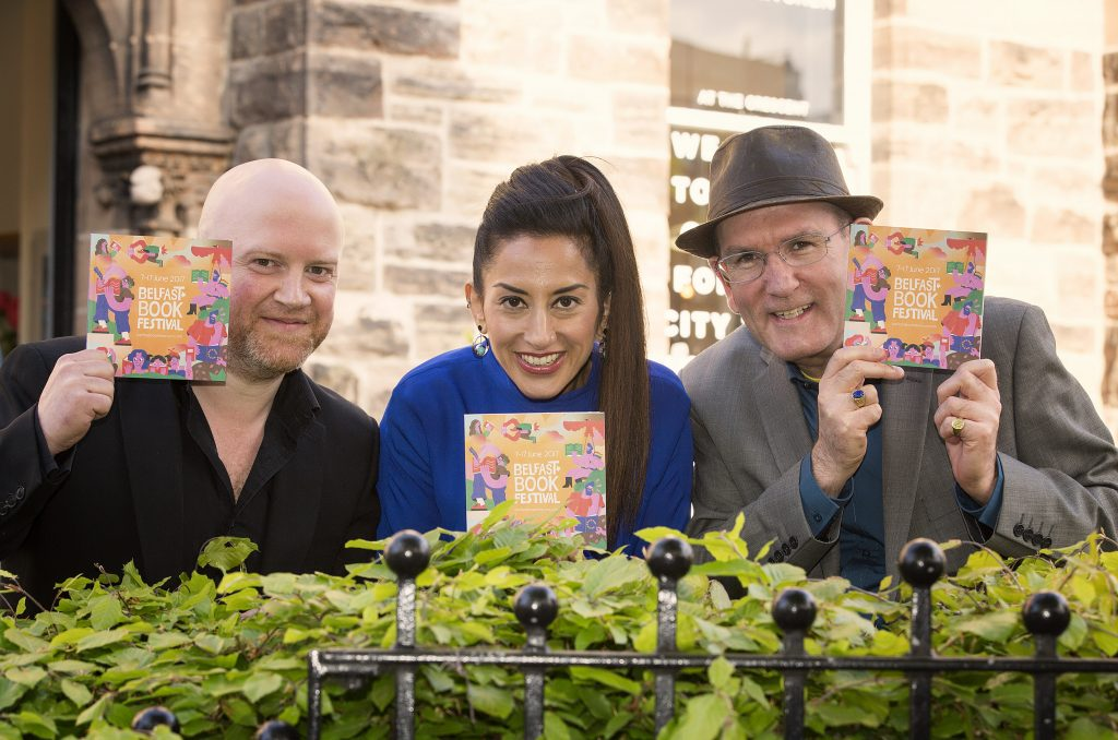 Helping to launch the 7th  Belfast Book Festival 2017 programme which will run 7-17th June at the Crescent Arts Centre as well as a range of venues across Belfast City  were, from left, Keith Acheson Festival Director, Deepa Mann-Kler Chair of Crescent Arts Centre and Damian Smyth Head of Literature and Drama at Arts Council of Northern Ireland.