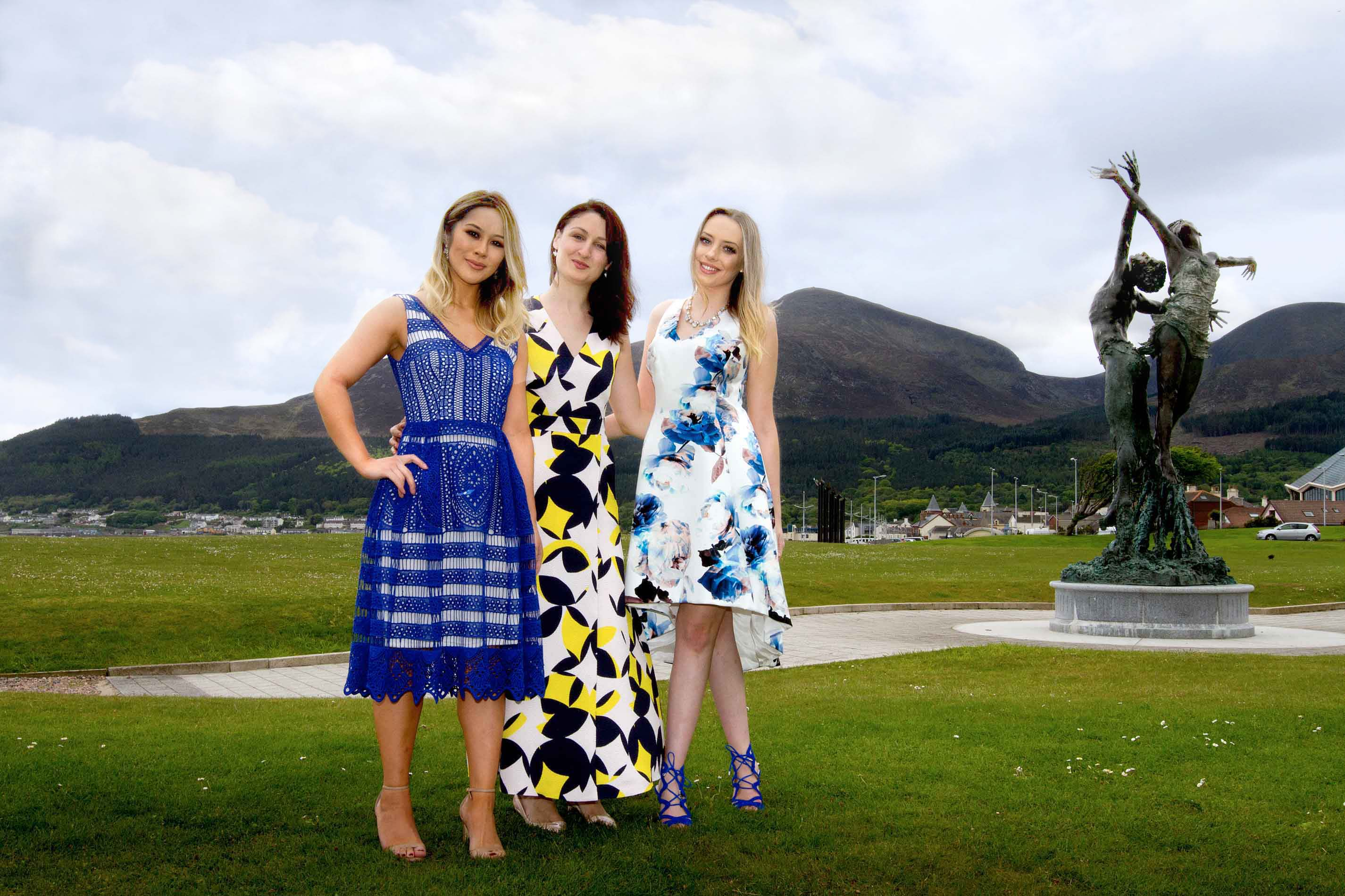 Katherin Farrie (centre), from Victoria Square, is joined by Slieve Donard Spa therapists, Rebecca Murray and Sambie Lee, to help prepare for the Summer Styling Showcase event, in association with Victoria Square.