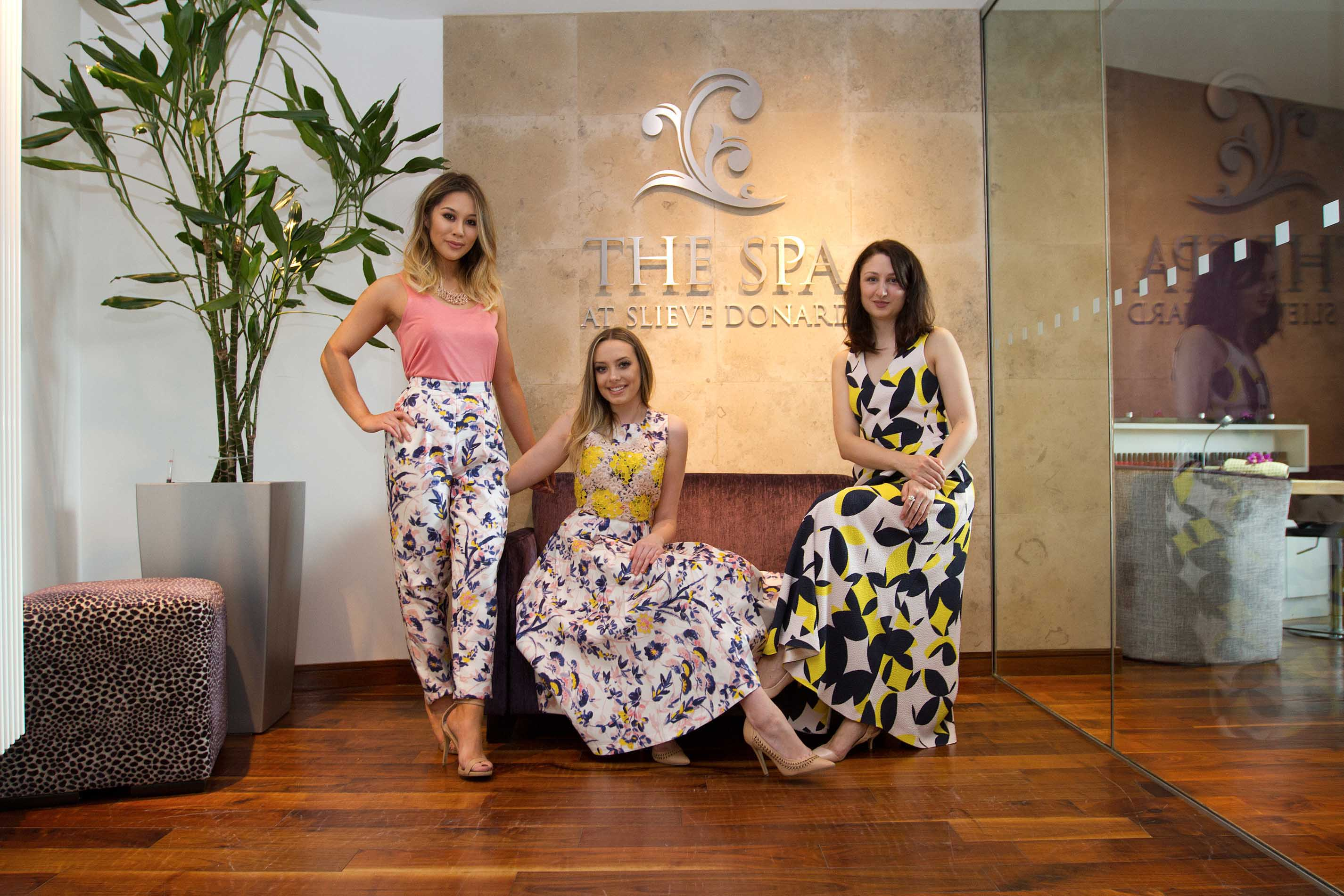 Katherin Farrie (right), from Victoria Square, is joined by Slieve Donard Spa therapists, Rebecca Murray and Sambie Lee, to help prepare for the Summer Styling Showcase event, in association with Victoria Square.